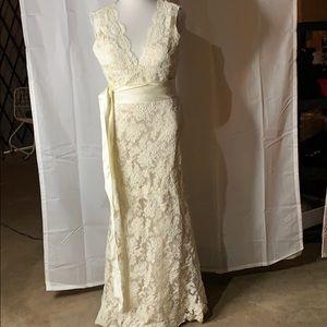 Champagne Lace A-Line Wedding Dress